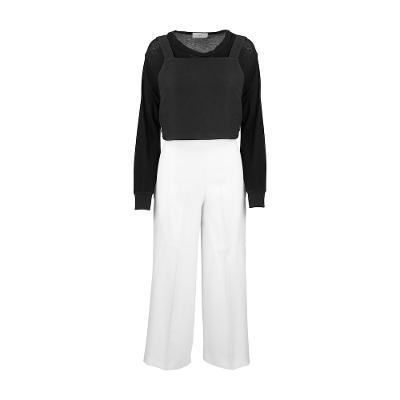 [44]Opr. - crop bustier sweat shirts_ZARA - high waist wide pants